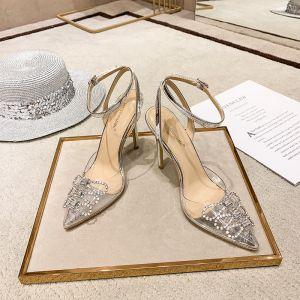 Seksowne Przezroczysty Srebrny Przypadkowy Sandały Damskie 2020 Rhinestone Z Paskiem 10 cm Szpilki Szpiczaste Sandały