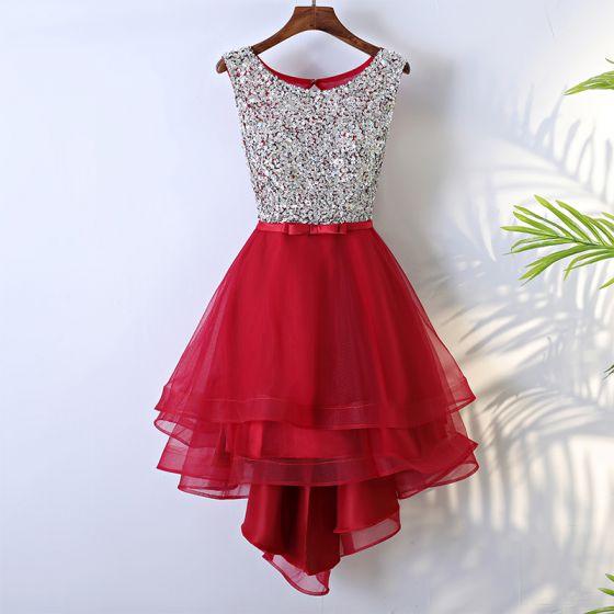 Red Sparkly Graduation Dresses 2017 A-Line / Princess Bow Sequins Backless Scoop Neck Short Formal Dresses