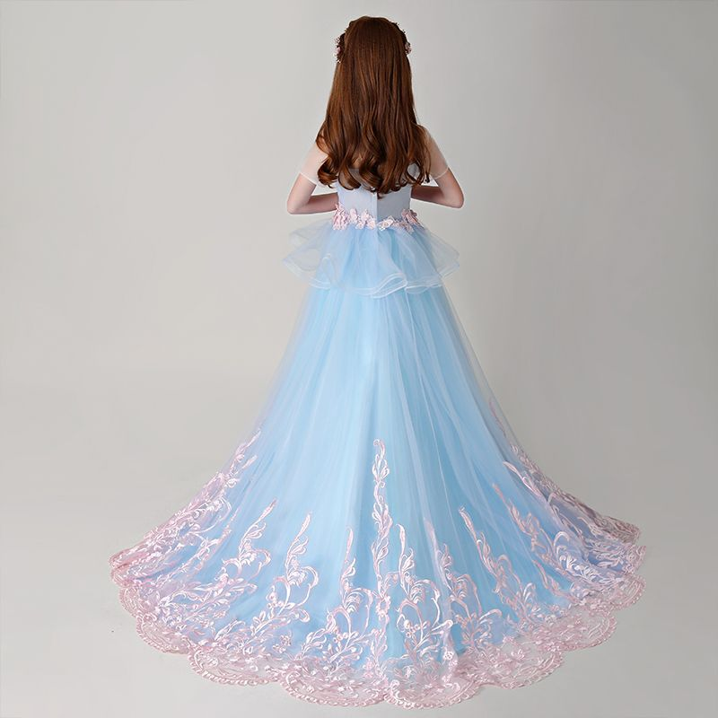 Best Pool Blue See-through Flower Girl Dresses 2019 A-Line / Princess Scoop Neck Short Sleeve Pearl Pink Appliques Lace Court Train Ruffle Backless Wedding Party Dresses