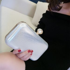 Modest / Simple Silver Pearl Patent Leather Clutch Bags 2018