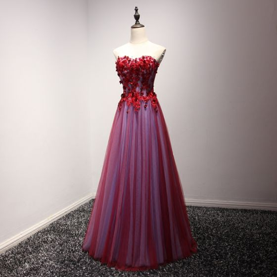 Chic / Beautiful Formal Dresses 2017 Evening Dresses  Red A-Line / Princess Floor-Length / Long Sweetheart Sleeveless Backless Lace Appliques Beading Rhinestone