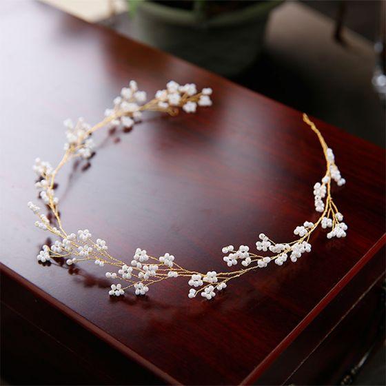 Schlicht Gold Haarschmuck Braut  2020 Metall Perlenstickerei Kopfschmuck Hochzeit Brautaccessoires