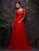 2016 Sexy U-ausschnitt Rückenfreie Rotem Tüll Abendkleider Mit Schärpe