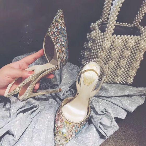 Mooie / Prachtige Multi-Kleuren Rhinestone Slingbacks Bruidsschoenen 2020 Leer 10 cm Naaldhakken / Stiletto Spitse Neus Huwelijk Sandalen