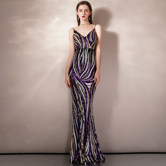 Fancy Multi-Colors Sequins Evening Dresses  2020 Trumpet / Mermaid Spaghetti Straps Sleeveless Floor-Length / Long Ruffle Backless Formal Dresses