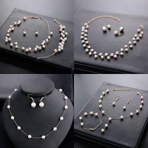 Modest / Simple Ivory Pearl Necklace 2020 Metal Wedding Bridal Jewelry Accessories