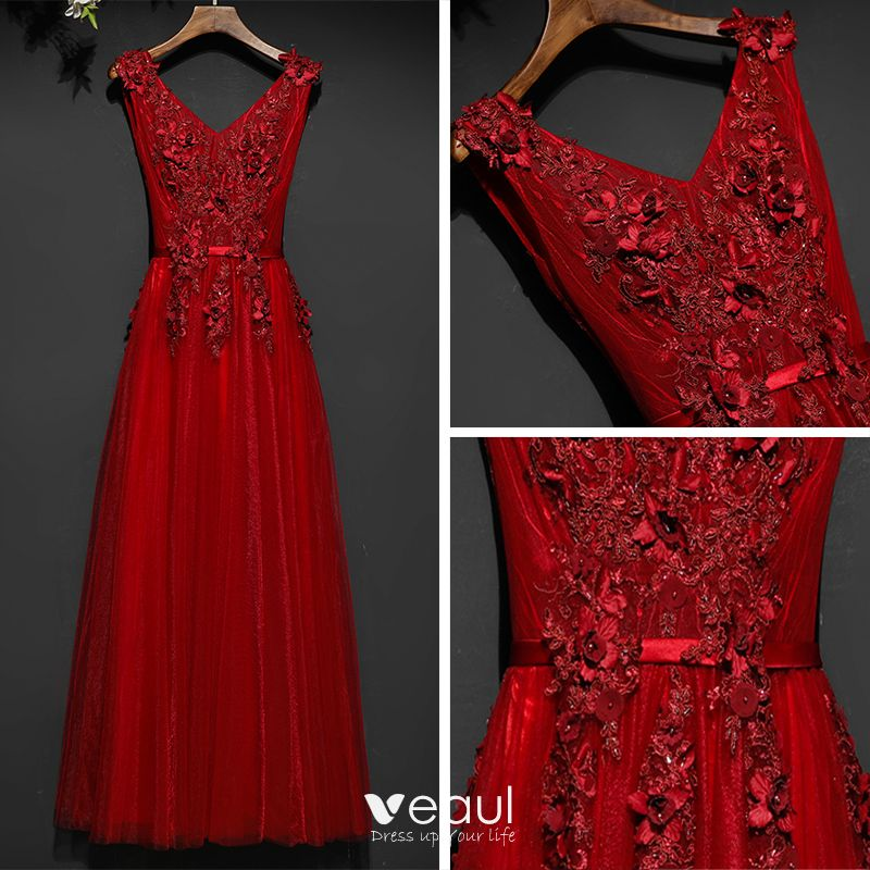 Chic / Beautiful Red Formal Dresses Evening Dresses  2017 Lace Flower Pearl Strappy Backless V-Neck Ankle Length Sleeveless Empire