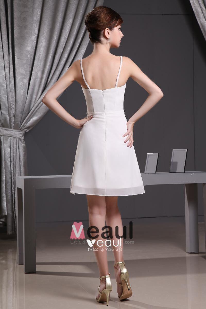 Chiffon Silk Beading Thigh Length Spaghetti Straps Mini Wedding Dress