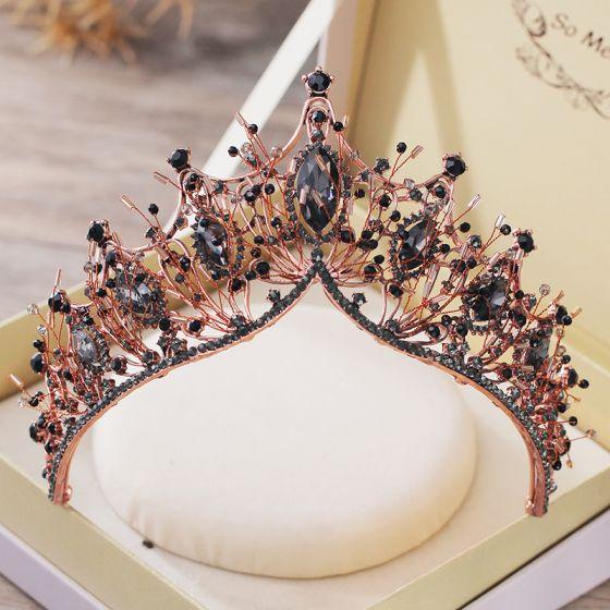 Vintage / Retro Baroque Black Tiara Bridal Hair Accessories 2019 Metal Beading Rhinestone Wedding Accessories