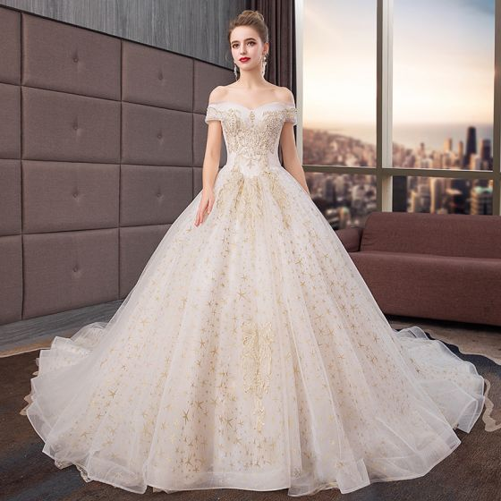 Elegant Ivory Wedding Dresses 2019 Ball Gown Off The Shoulder Lace Flower Star Beading Pearl Sequins Short Sleeve Backless Royal Train