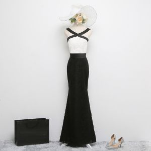 Chic / Beautiful Black Evening Dresses  2017 Backless Trumpet / Mermaid Lace X-Strap Pierced Spaghetti Straps Evening Party