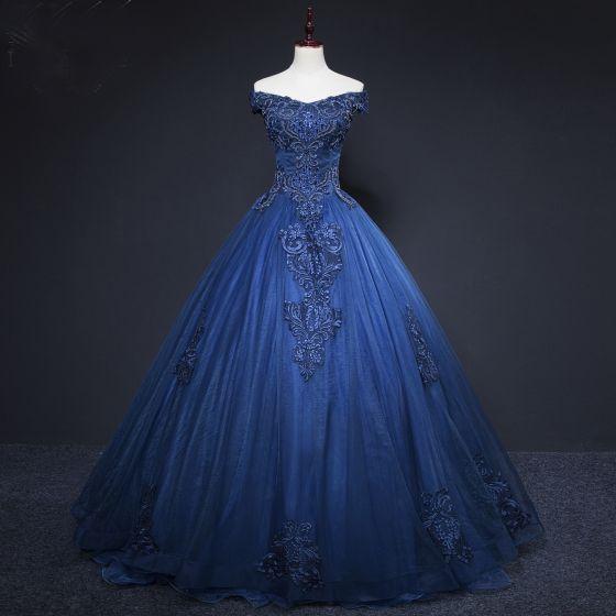 Vintage Marineblau Ballkleider 2019 A Linie Off Shoulder Perlenstickerei Kristall Spitze Blumen Ärmellos Rückenfreies Lange Festliche Kleider