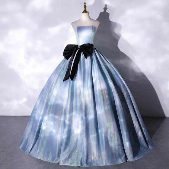 Illusion Sky Blue Prom Dresses 2021 Ball Gown Strapless Bow Sleeveless Backless Floor-Length / Long Formal Dresses
