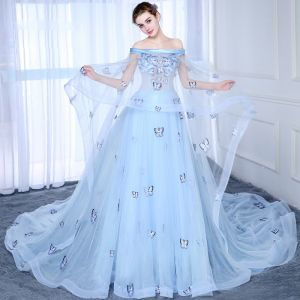 Chic / Beautiful Sky Blue Prom Dresses 2017 A-Line / Princess Strapless Lace Butterfly Appliques Backless Prom Formal Dresses