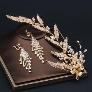 Eleganta Guld Brudsmycken 2020 Legering Beading Rhinestone Örhängen Hårsmycken Brud Huvudbonad