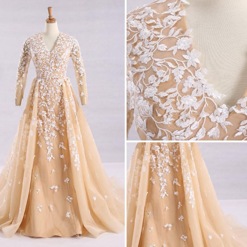 Elegant Champagne Wedding Dresses 2017 A-Line / Princess V-Neck Long Sleeve Appliques Lace Ruffle Tulle Chapel Train
