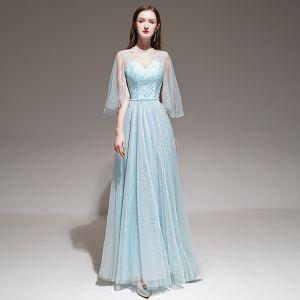 Romantique Bleu Ciel Robe De Soirée Avec Châle 2020 Princesse épaules Sans Manches Perlage Ceinture Longue Volants Dos Nu Robe De Ceremonie