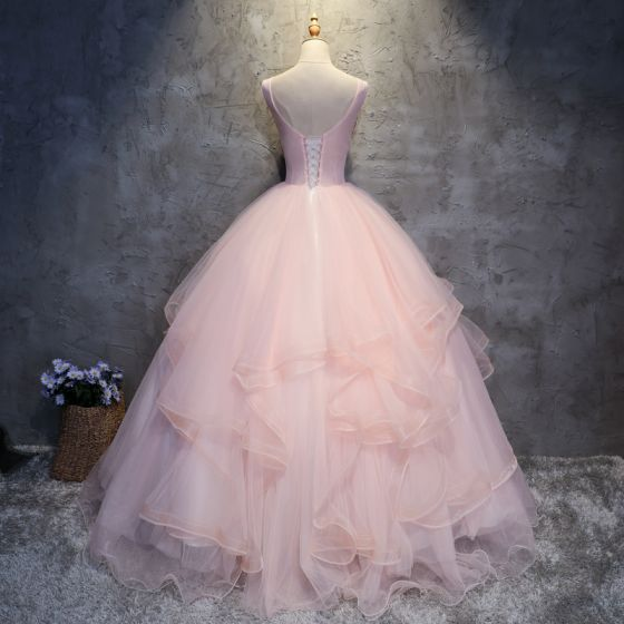 Elegant Pearl Pink Prom Dresses 2017 Ball Gown Lace Appliques Rhinestone Scoop Neck Backless Sleeveless Floor-Length / Long Formal Dresses
