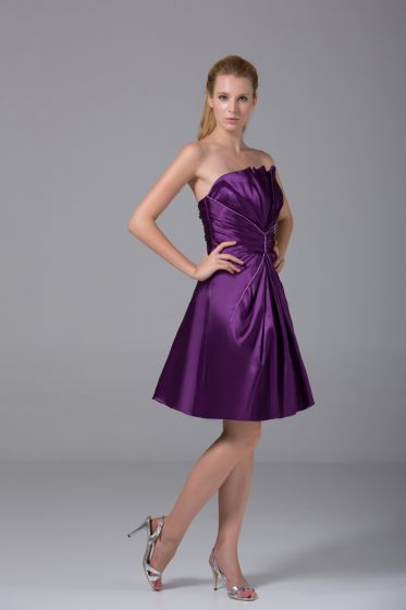 Modest Strapless Thigh Length Beading Pleated Imitation Silk Bridesmaid Dress