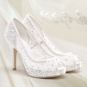 Chic / Beautiful White Summer Wedding Shoes 2018 Leather Lace Rhinestone 10 cm Stiletto Heels Open / Peep Toe High Heels Wedding