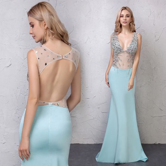 Sexy Blau Abendkleider 2019 Meerjungfrau Durchsichtige Pailletten Strass V-Ausschnitt Rückenfreies Ärmellos Sweep / Pinsel Zug Festliche Kleider