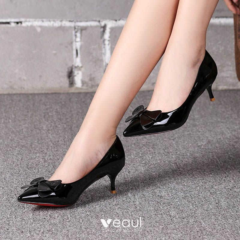 Chic / Beautiful Black Office Pumps 2017 PU Bow Pointed Toe High Heels Pumps