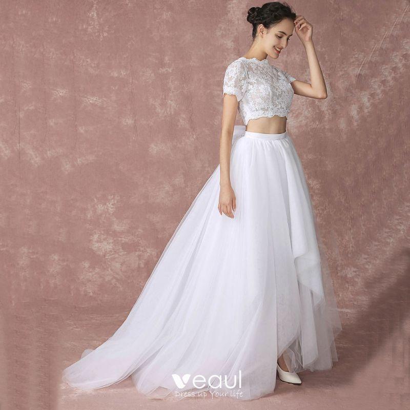 2 Piece Beach Wedding Dresses White 2017 A Line Princess