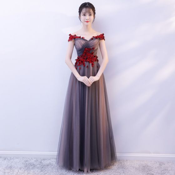 Chic / Beautiful Grey Prom Dresses 2019 A-Line / Princess Off-The ...