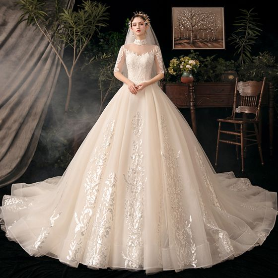 Vintage / Retro Champagne Bridal Wedding Dresses 2020 Ball Gown See-through High Neck 1/2 Sleeves Backless Appliques Lace Beading Glitter Tulle Cathedral Train