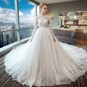 Elegant Ivory Wedding Dresses 2017 A-Line / Princess Scoop Neck Long Sleeve Appliques Pierced Lace Backless Chapel Train