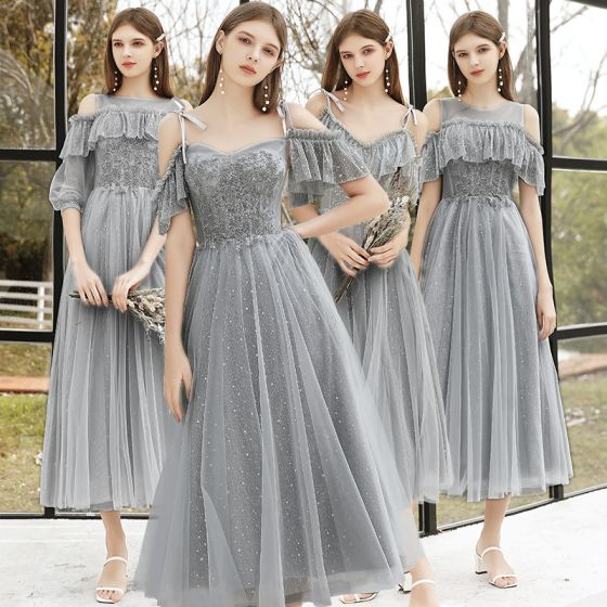 Affordable Grey Bridesmaid Dresses 2020 A-Line / Princess Backless Sequins Beading Glitter Tulle Tea-length Ruffle