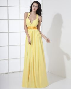 Chiffon Halter Bead Pleated Floor Length Evening Dress