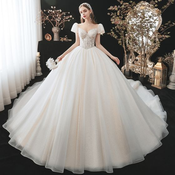 Charming Fashion Champagne Beading Sequins Wedding Dresses 2021 Ball Gown Scoop Neck Appliques Short Sleeve Backless Royal Train Wedding