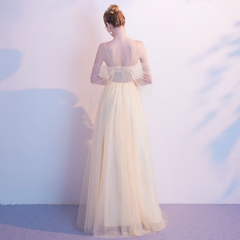 Charming Champagne Evening Dresses  2020 A-Line / Princess Spaghetti Straps Beading Sequins Sleeveless Backless Floor-Length / Long Formal Dresses