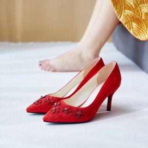 Chic / Beautiful Red Wedding Shoes 2020 Suede Rhinestone 7 cm Stiletto Heels Pointed Toe Wedding Pumps