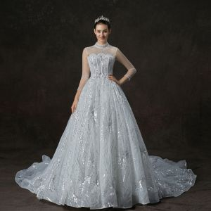 Vintage / Retro White See-through Wedding Dresses 2019 A-Line / Princess High Neck 3/4 Sleeve Backless Beading Glitter Sequins Cathedral Train Ruffle