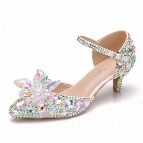 Amazing / Unique Silver Wedding Shoes 2018 Buckle Crystal Rhinestone 5 cm Stiletto Heels Pointed Toe Wedding High Heels