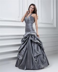 Ball Gown Halter Ruffle Floor Length Taffeta Quinceanera Prom Dress