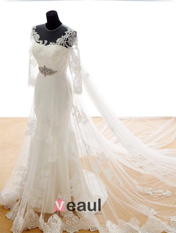 2015 Dream Serie · Mermaid Shoulders Scoop Neck 3/4 Sleeves Wedding Dress