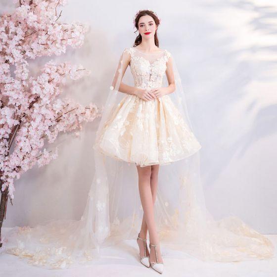 moda champán vestidos de novia 2018 ball gown con encaje bordado