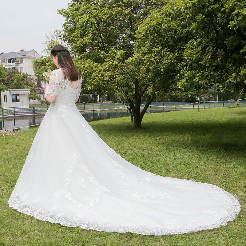 Elegant Classic White Wedding Dresses 2017 A-Line / Princess Lace V-Neck Tulle Beading Sequins Appliques Backless Wedding