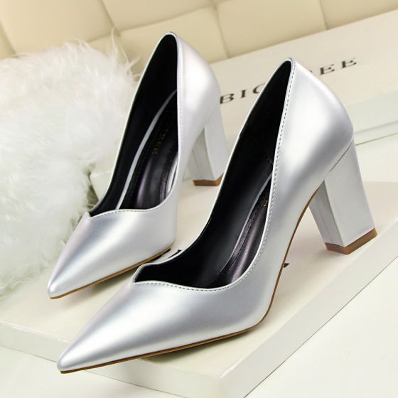 Modest / Simple Silver Casual Pumps 2020 7 cm Thick Heels Pointed Toe Pumps