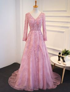 Elegant Prom Dresses 2017 V-neck Long Sleeves Beading Rhinestones Pink Dress With Train