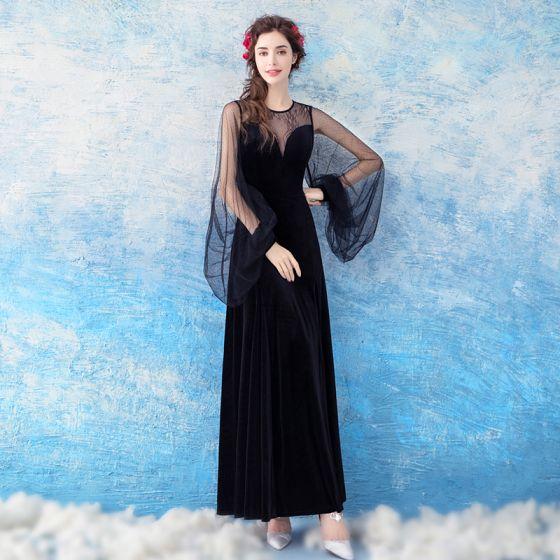 Chic / Beautiful Black Evening Dresses  2017 A-Line / Princess Lace Tulle U-Neck Evening Party Formal Dresses
