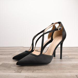 Abordable Noire Soirée Sandales Femme 2020 X-Strap 10 cm Talons Aiguilles À Bout Pointu Talons
