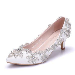 Charming White Prom Pumps 2018 Rhinestone 5 cm Stiletto Heels Pointed Toe Pumps