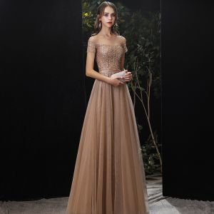 Uroczy Złote Sukienki Wieczorowe 2020 Princessa Wycięciem Frezowanie Cekiny Szarfa Kótkie Rękawy Długie Sukienki Wizytowe