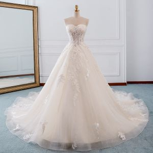 Elegant Champagne Wedding Dresses 2019 A-Line / Princess Sweetheart Detachable 3/4 Sleeve Backless Appliques Lace Beading Glitter Tulle Cathedral Train Ruffle
