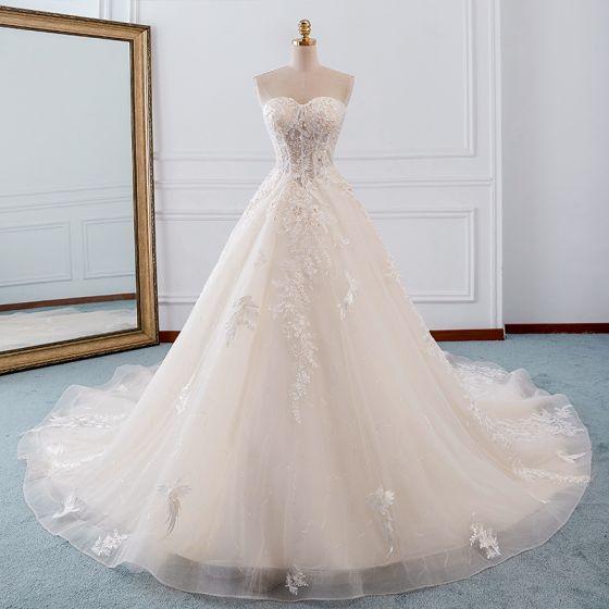 Elegant Champagne Wedding Dresses 2019 A-Line / Princess