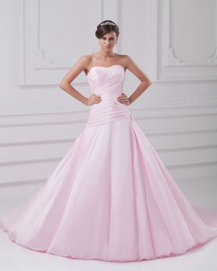 Satin Ruffle Flower Sweetheart Floor Length Ball Gown Women A Line Wedding Dress